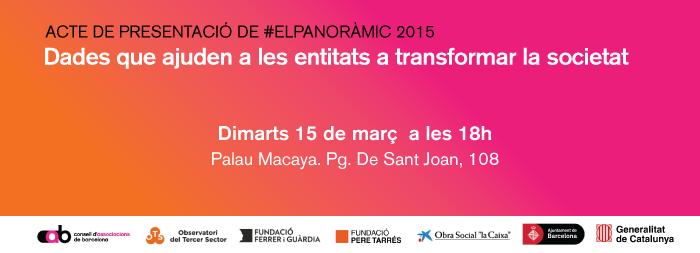 """Presentació #ElPanoràmic 2015:  """"Dades que ajuden a les entitats a transformar la societat"""""""